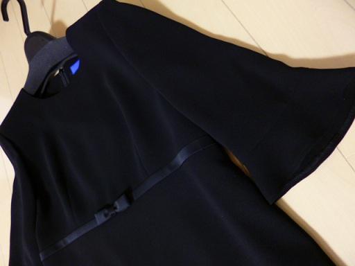 袖口とハイウエストのリボンが唯一のデザインかな~