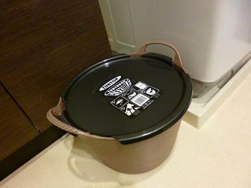 ランドリースペースの洗濯機と収納の段差(?)のところに・・・・・